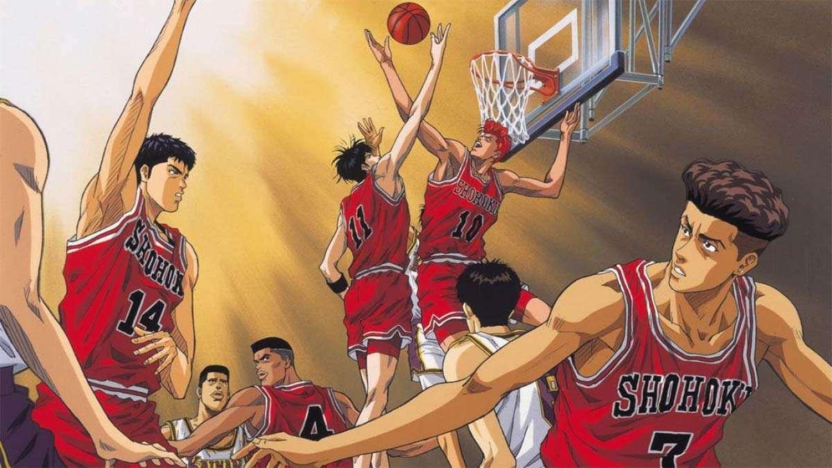 Hanamichi e Rukawa dell'anime Slam Dunk si sfidano a canestro.